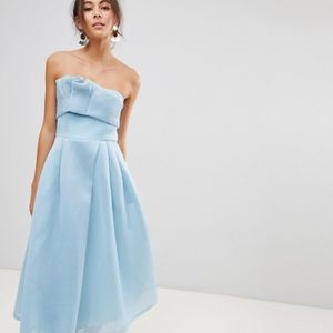 ASOS pale blue dress mesh strapless with pockets